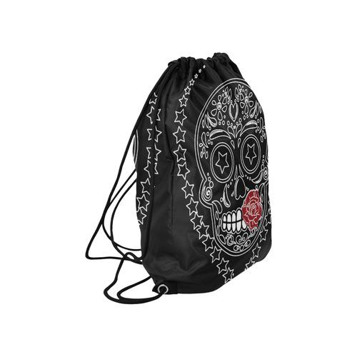 "Sugar Skull Red Rose Large Drawstring Bag Model 1604 (Twin Sides)  16.5""(W) * 19.3""(H)"