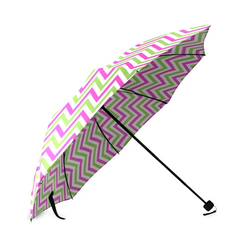 Pink Green White Chevron Foldable Umbrella (Model U01)