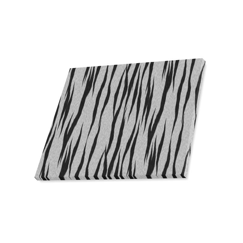 """A Trendy Black Silver Big Cat Fur Texture Canvas Print 20""""x16"""""""