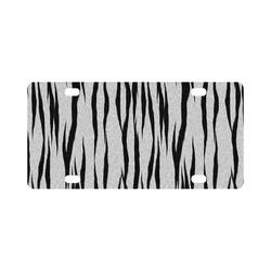 A Trendy Black Silver Big Cat Fur Texture Classic License Plate