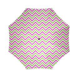 Pink Green White Chevron Foldable Umbrella (Model U01)
