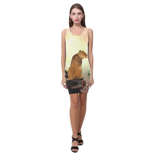 Awesome lioness in a fantasy world Medea Vest Dress (Model D06)