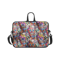Colorfully Flower Power Skull Grunge Pattern Laptop Handbags 17""