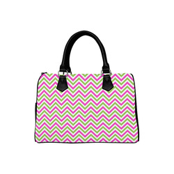 Pink Green White Chevron Boston Handbag (Model 1621)