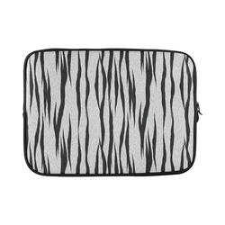 A Trendy Black Silver Big Cat Fur Texture Custom Laptop Sleeve 15''