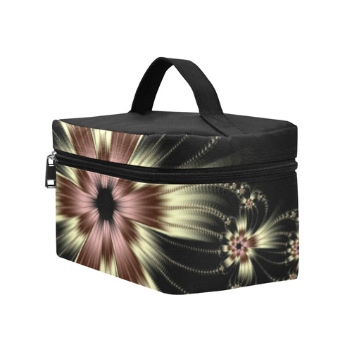 White Flower Burst Cosmetic Bag/Large (Model 1658)