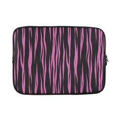A Trendy Black Pink Big Cat Fur Texture Custom Laptop Sleeve 15''
