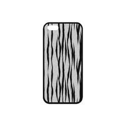 A Trendy Black Silver Big Cat Fur Texture Rubber Case for iPhone SE
