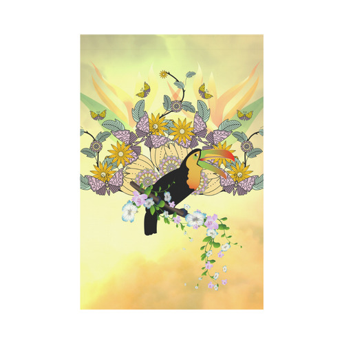 Toucan with flowers Garden Flag 12''x18''(Without Flagpole)