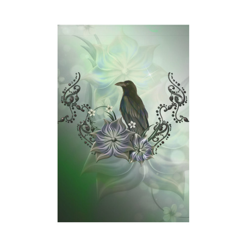 Raven with flowers Garden Flag 12''x18''(Without Flagpole)