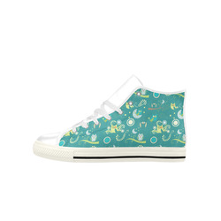 Cute colorful night Owls moons and flowers Aquila High Top Microfiber Leather Women's Shoes (Model 027)