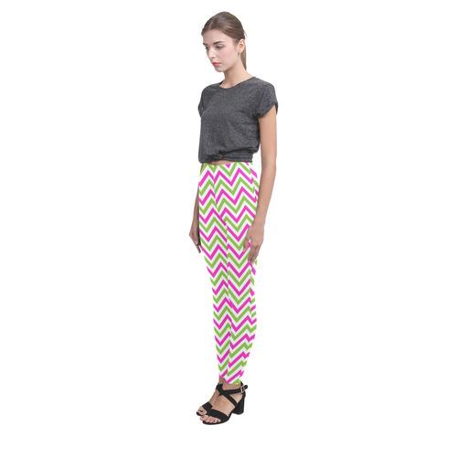Pink Green White Chevron Cassandra Women's Leggings (Model L01)
