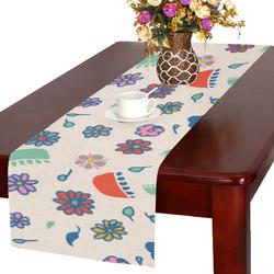 flower cream multi Table Runner 16x72 inch