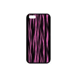 A Trendy Black Pink Big Cat Fur Texture Rubber Case for iPhone SE