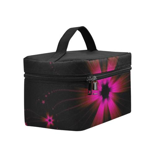 Fuchsia Flower Burst Cosmetic Bag/Large (Model 1658)