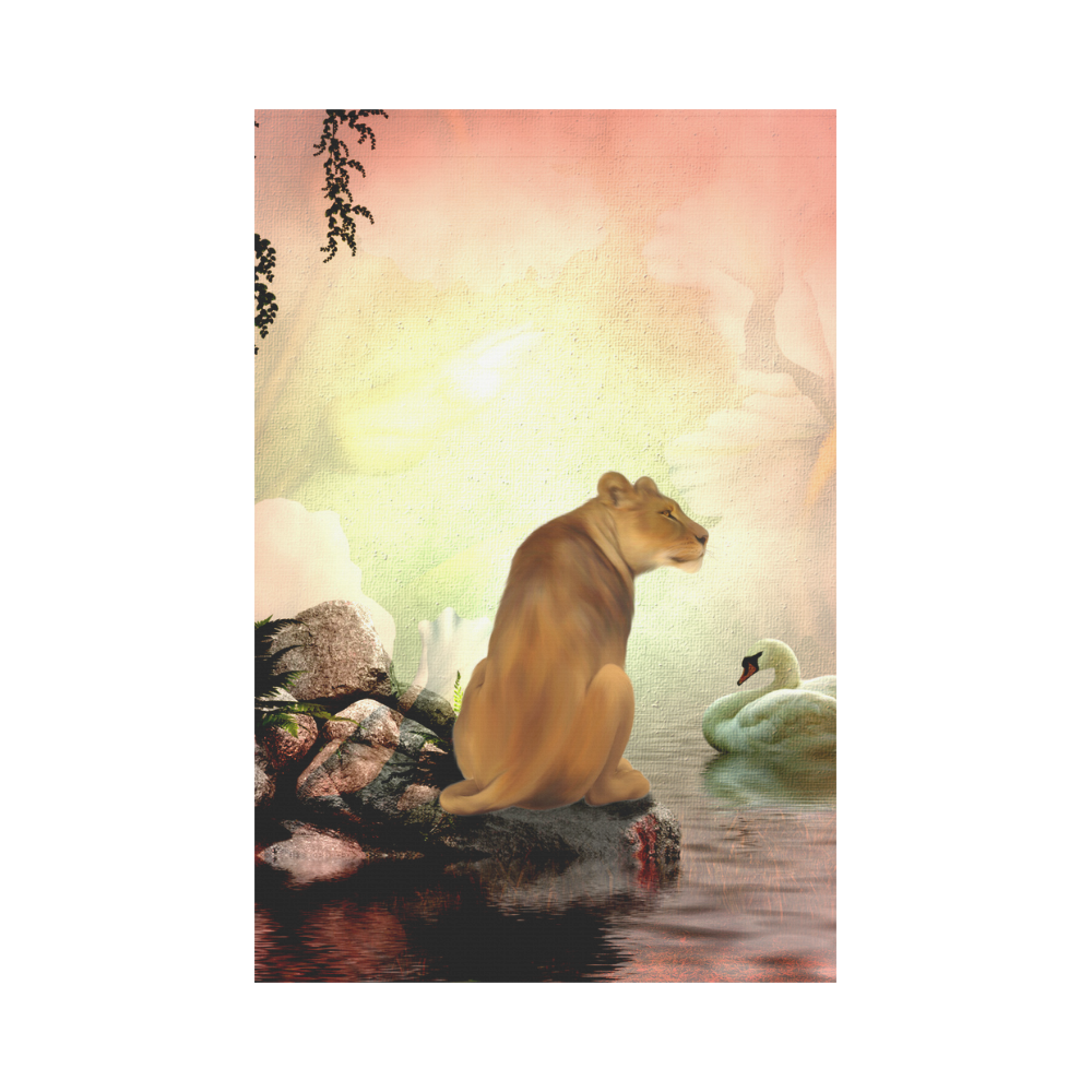 Awesome lioness in a fantasy world Garden Flag 12''x18''(Without Flagpole)