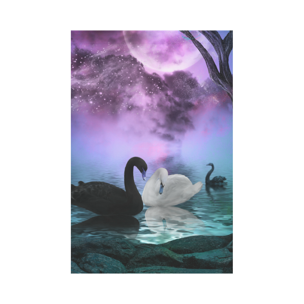 Wonderful black and white swan Garden Flag 12''x18''(Without Flagpole)