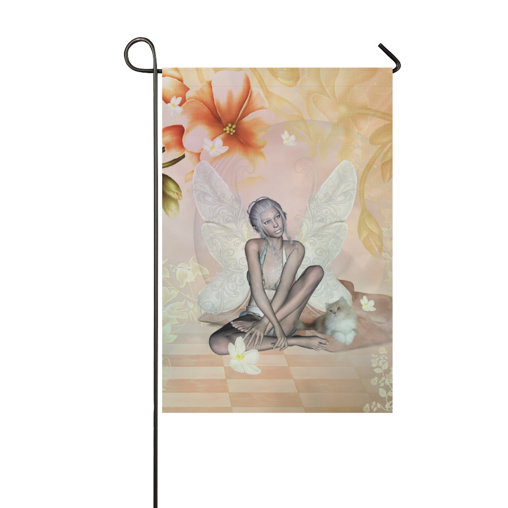 Beautiful fairy with cat Garden Flag 12''x18''(Without Flagpole)