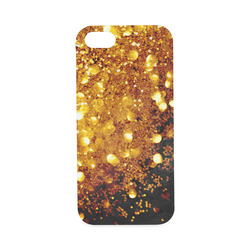 Golden glitter texture with black background Hard Case for iPhone SE