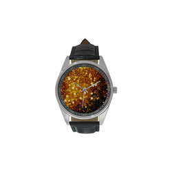 Golden glitter texture with black background Men's Casual Leather Strap Watch(Model 211)