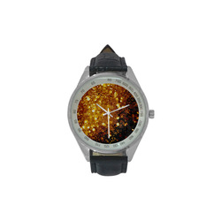 Golden glitter texture with black background Men's Leather Strap Analog Watch(Model 209)