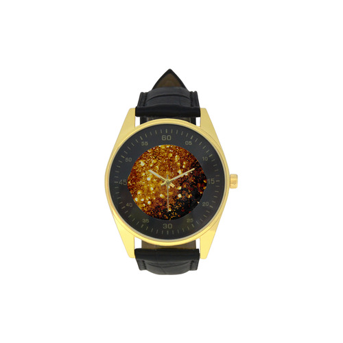 Golden glitter texture with black background Men's Golden Leather Strap Watch(Model 210)