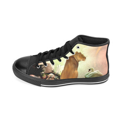 Awesome lioness in a fantasy world Men's Classic High Top Canvas Shoes /Large Size (Model 017)
