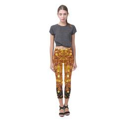 Golden glitter texture with black background Capri Legging (Model L02)