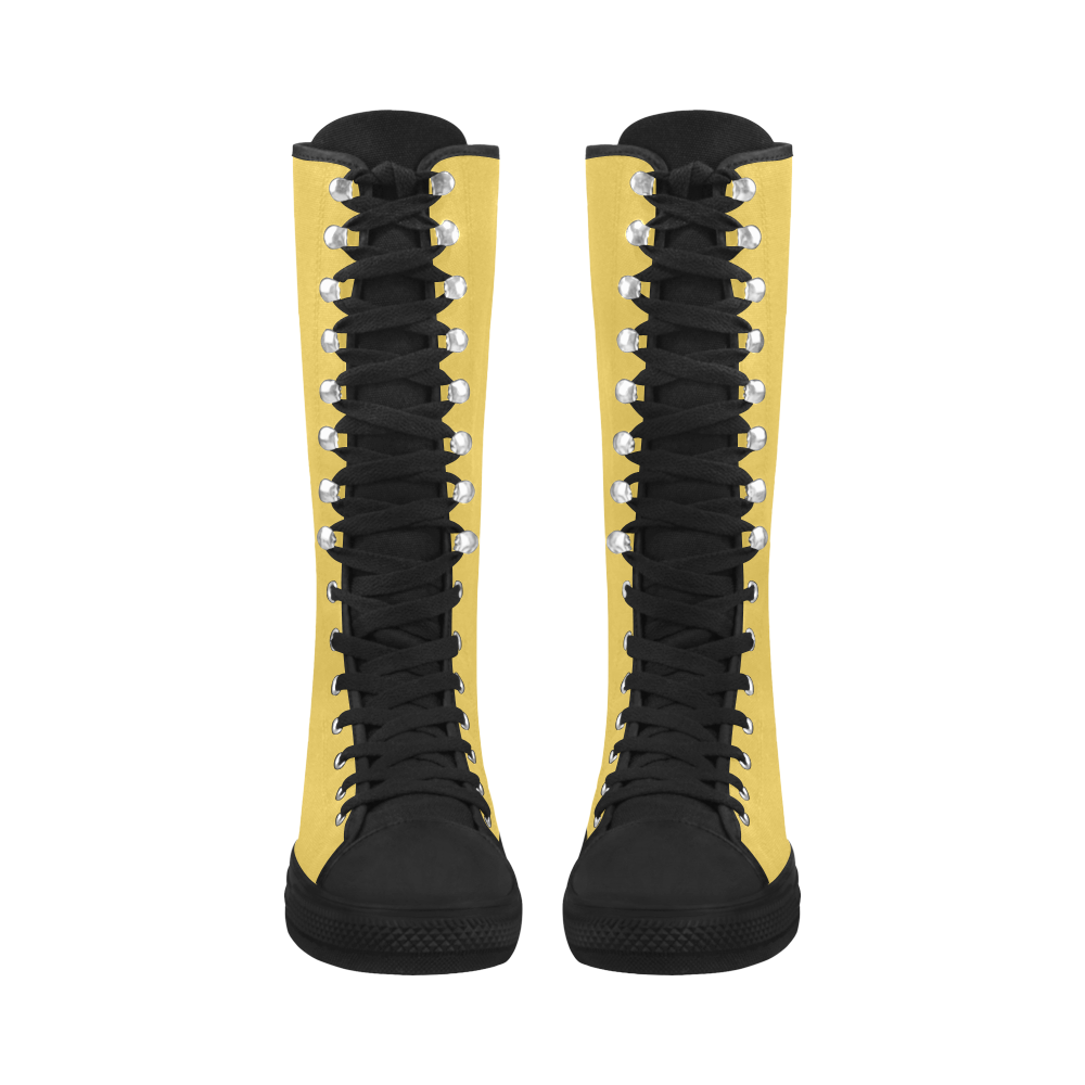 Primrose Yellow Canvas Long Boots For Women Model 7013H