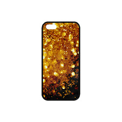 Golden glitter texture with black background Rubber Case for iPhone SE