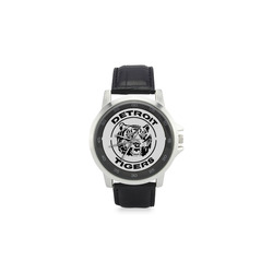 tigers Unisex Stainless Steel Leather Strap Watch(Model 202)