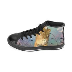 Wonderful lioness Men's Classic High Top Canvas Shoes /Large Size (Model 017)