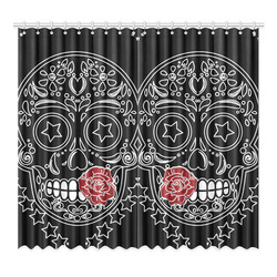 """Sugar Skull Red Rose Window Curtain 52""""x96""""(Two Piece)"""