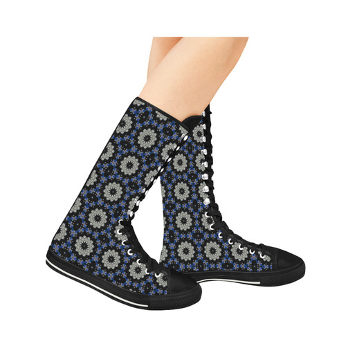 Blue and Black Geometric Canvas Long Boots For Women Model 7013H