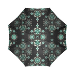 Green on black - seamless pattern with atmosphere Foldable Umbrella (Model U01)