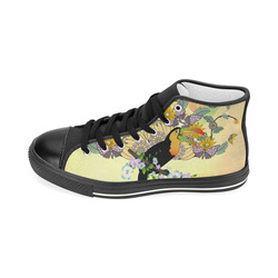 Toucan with flowers Men's Classic High Top Canvas Shoes (Model 017)