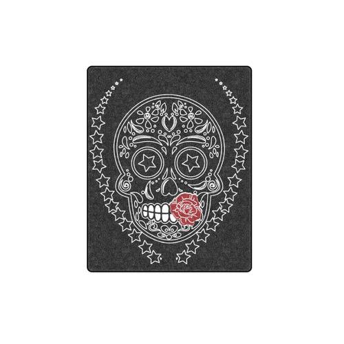 "Sugar Skull Red Rose Blanket 40""x50"""