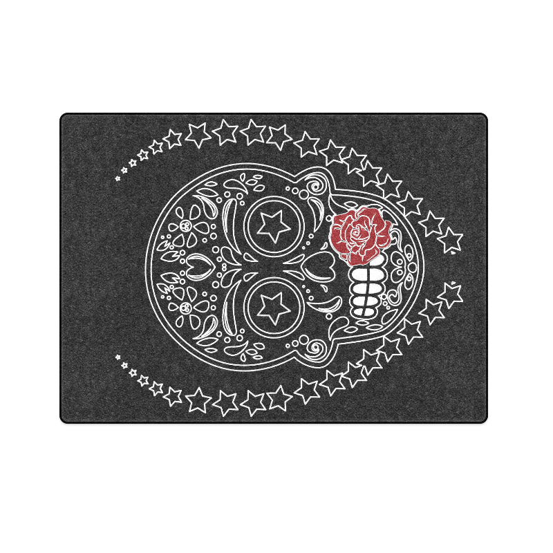 "Sugar Skull Red Rose Blanket 58""x80"""