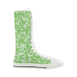 Green Flash Pixels Canvas Long Boots For Women Model 7013H