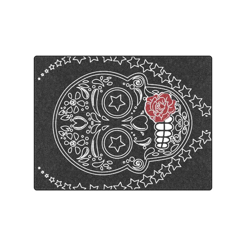 "Sugar Skull Red Rose Blanket 50""x60"""