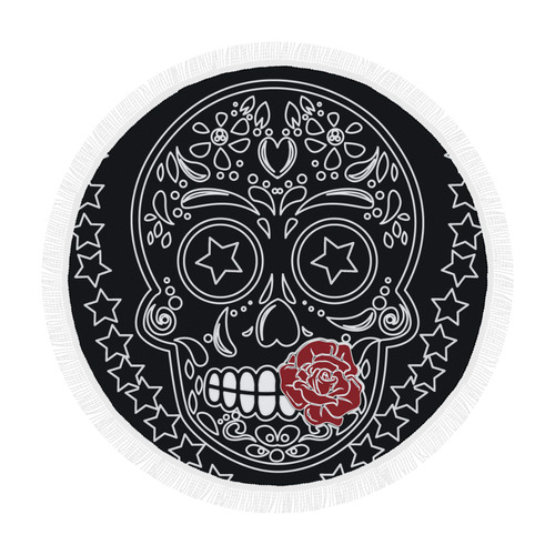 "Sugar Skull Red Rose Circular Beach Shawl 59""x 59"""