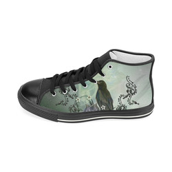Raven with flowers Men's Classic High Top Canvas Shoes (Model 017)