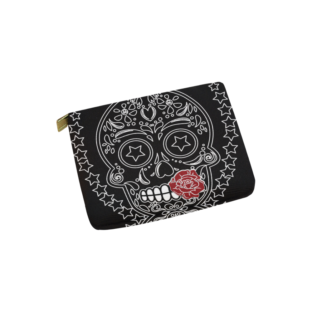 Sugar Skull Red Rose Carry-All Pouch 6''x5''