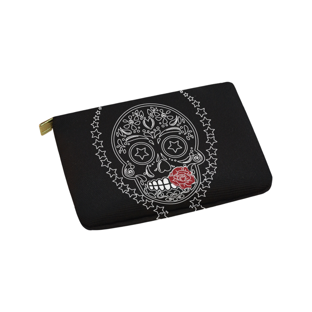 Sugar Skull Red Rose Carry-All Pouch 9.5''x6''