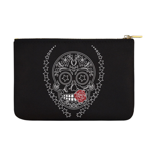 Sugar Skull Red Rose Carry-All Pouch 12.5''x8.5''