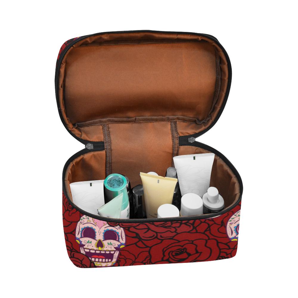 Rose Sugar Skull Cosmetic Bag/Large (Model 1658)