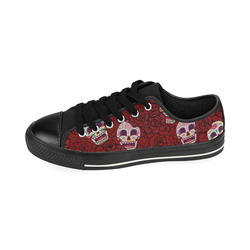 Rose Sugar Skull Men's Classic Canvas Shoes (Model 018)