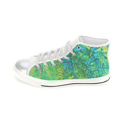 blue and green canvas high tops Women's Classic High Top Canvas Shoes (Model 017)