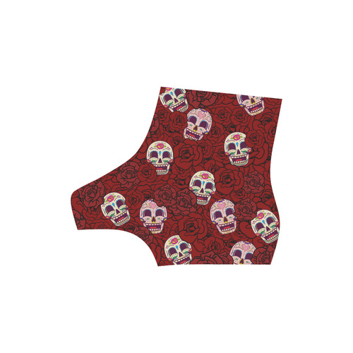 Rose Sugar Skull High Grade PU Leather Martin Boots For Men Model 402H