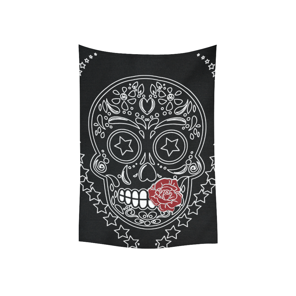 "Sugar Skull Red Rose Cotton Linen Wall Tapestry 40""x 60"""